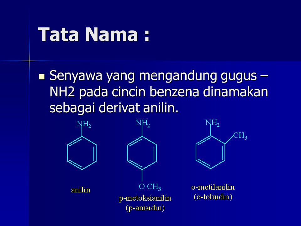 Tata Nama : Senyawa yang mengandung gugus – NH2 pada cincin benzena dinamakan sebagai derivat anilin. Senyawa yang mengandung gugus – NH2 pada cincin