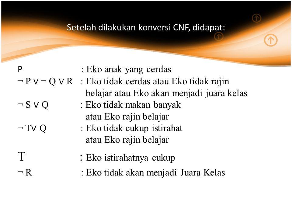Setelah dilakukan konversi CNF, didapat: P : Eko anak yang cerdas ¬ P ∨ ¬ Q ∨ R : Eko tidak cerdas atau Eko tidak rajin belajar atau Eko akan menjadi