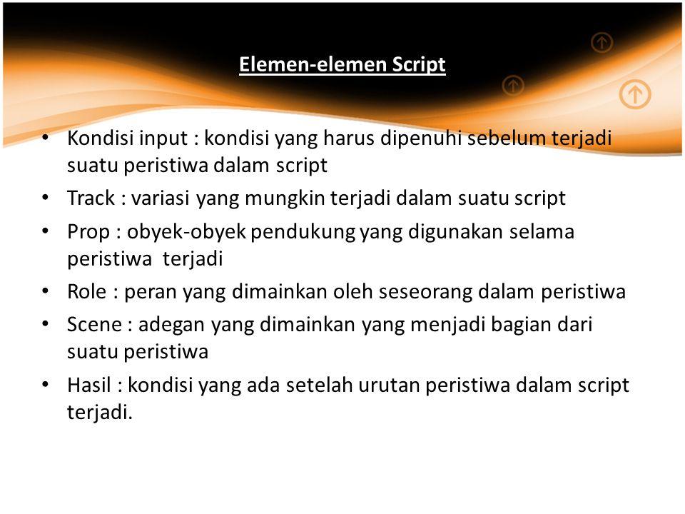 Elemen-elemen Script Kondisi input : kondisi yang harus dipenuhi sebelum terjadi suatu peristiwa dalam script Track : variasi yang mungkin terjadi dal