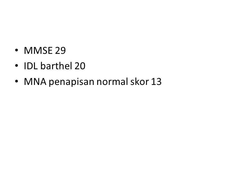 MMSE 29 IDL barthel 20 MNA penapisan normal skor 13