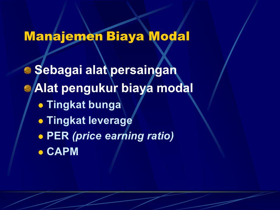 Manajemen Biaya Modal Sebagai alat persaingan Alat pengukur biaya modal Tingkat bunga Tingkat leverage PER (price earning ratio) CAPM