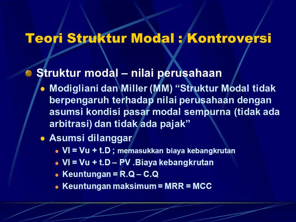 Teori Struktur Modal : Kontroversi Struktur modal – nilai perusahaan Modigliani dan Miller (MM) Struktur Modal tidak berpengaruh terhadap nilai perusahaan dengan asumsi kondisi pasar modal sempurna (tidak ada arbitrasi) dan tidak ada pajak Asumsi dilanggar VI = Vu + t.D ; memasukkan biaya kebangkrutan VI = Vu + t.D – PV.Biaya kebangkrutan Keuntungan = R.Q – C.Q Keuntungan maksimum = MRR = MCC