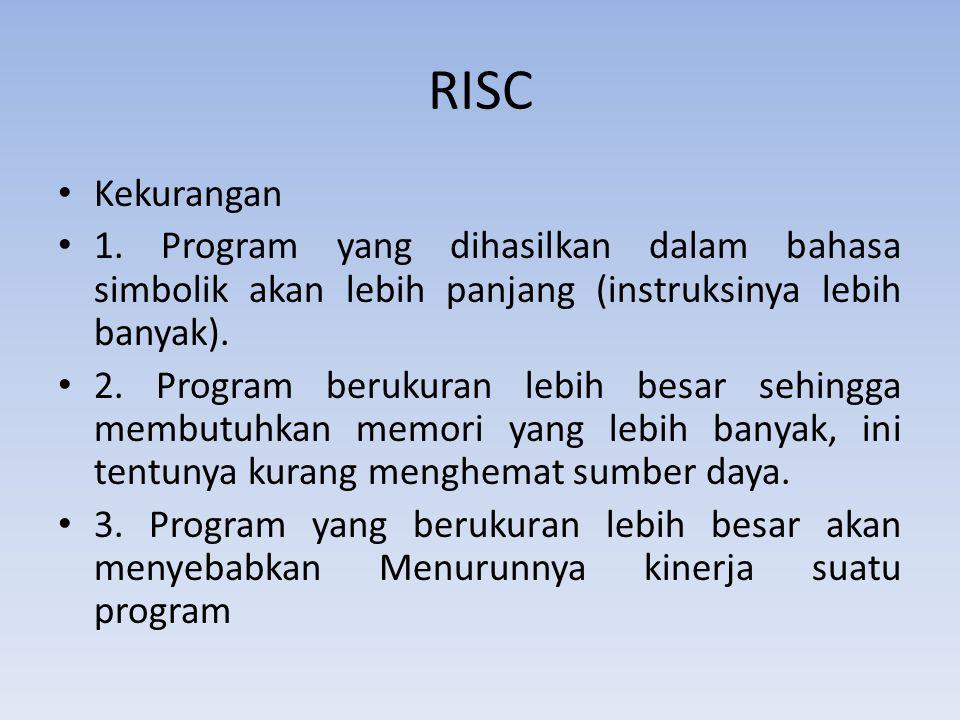 RISC Kekurangan 1. Program yang dihasilkan dalam bahasa simbolik akan lebih panjang (instruksinya lebih banyak). 2. Program berukuran lebih besar sehi