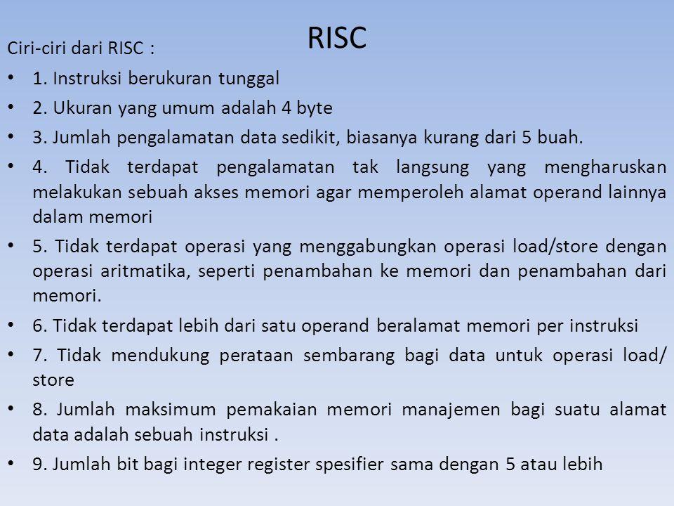 RISC Ciri-ciri dari RISC : 1. Instruksi berukuran tunggal 2. Ukuran yang umum adalah 4 byte 3. Jumlah pengalamatan data sedikit, biasanya kurang dari