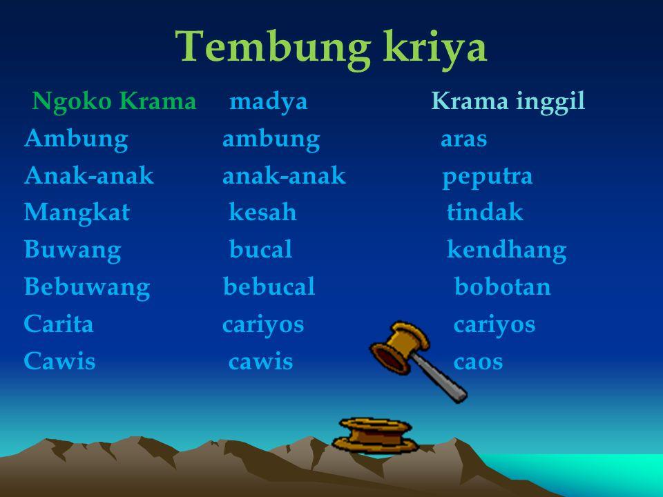 Tembung kriya Ngoko Krama madya Krama inggil Ambung ambung aras Anak-anak anak-anak peputra Mangkat kesah tindak Buwang bucal kendhang Bebuwangbebucal