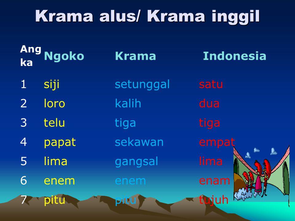Krama alus/ Krama inggil Ang ka NgokoKrama Indonesia 1sijisetunggalsatu 2lorokalihdua 3telutiga 4papatsekawanempat 5limagangsallima 6enem enam 7pitu t