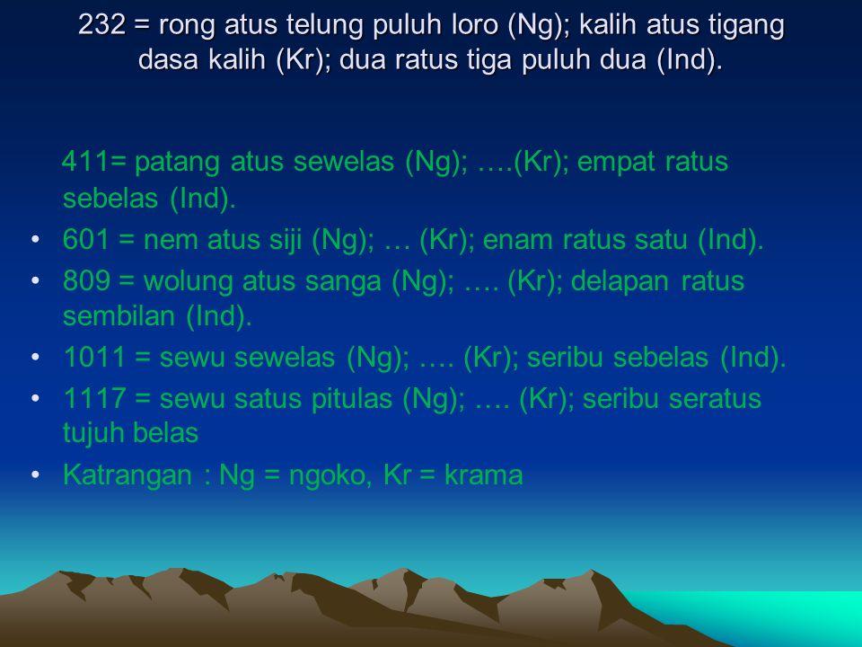 232 = rong atus telung puluh loro (Ng); kalih atus tigang dasa kalih (Kr); dua ratus tiga puluh dua (Ind). 411= patang atus sewelas (Ng); ….(Kr); empa