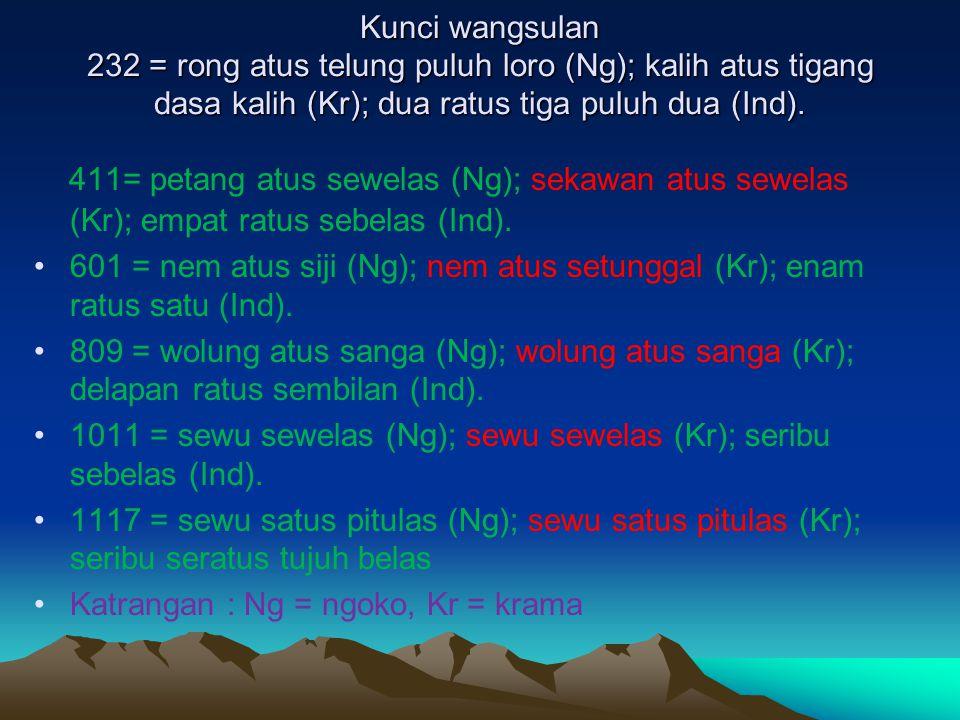 Kunci wangsulan 232 = rong atus telung puluh loro (Ng); kalih atus tigang dasa kalih (Kr); dua ratus tiga puluh dua (Ind). 411= petang atus sewelas (N