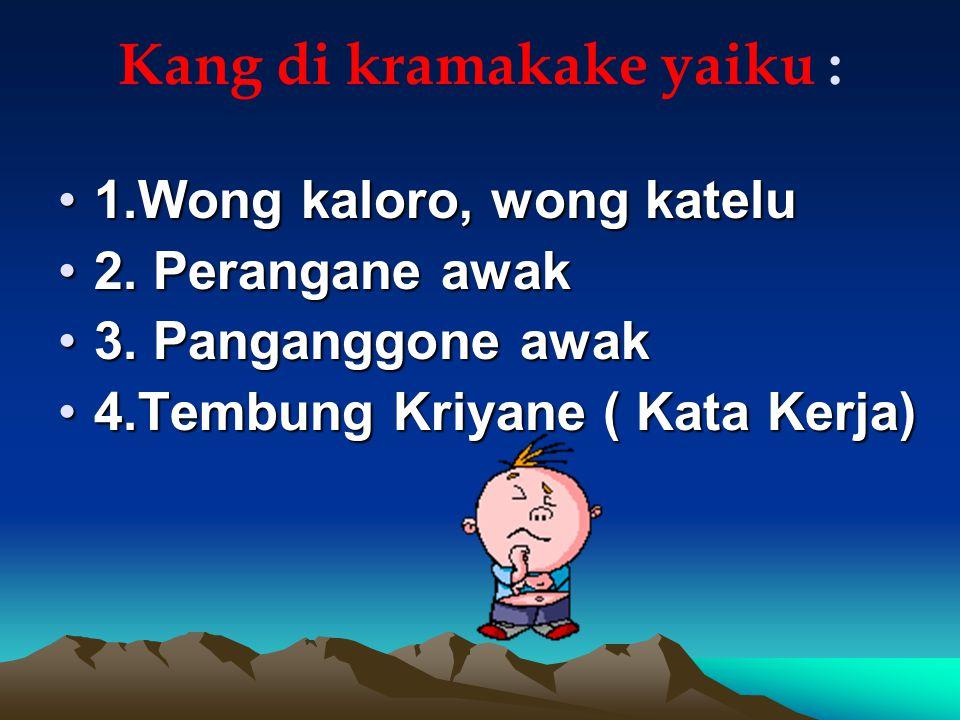 Madya Krama Madya Krama iki biasa dianggo déning wong padésan marang wong liya sing dianggep luwih tuwa utawa kinurmatan.padésantuwa Ciri-ciriné antara liya: Aku, diowahi dadi kula Kowé, diowahi dadi sampéyan, samang Ater-ater tak-, diowahi dadi kulaAter-ater Ater-ater ko-, diowahi dadi samang, mang Panambang -ku, diowahi dadi kulaPanambang Panambang -mu, diowahi dadi sampéyan, samang Panambang -e tetep ora owah