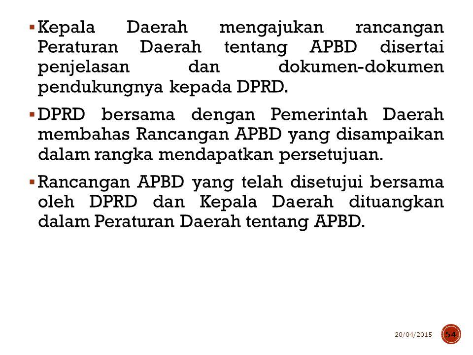  Kepala Daerah mengajukan rancangan Peraturan Daerah tentang APBD disertai penjelasan dan dokumen-dokumen pendukungnya kepada DPRD.  DPRD bersama de