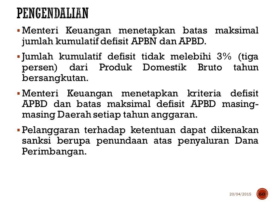  Menteri Keuangan menetapkan batas maksimal jumlah kumulatif defisit APBN dan APBD.  Jumlah kumulatif defisit tidak melebihi 3% (tiga persen) dari P