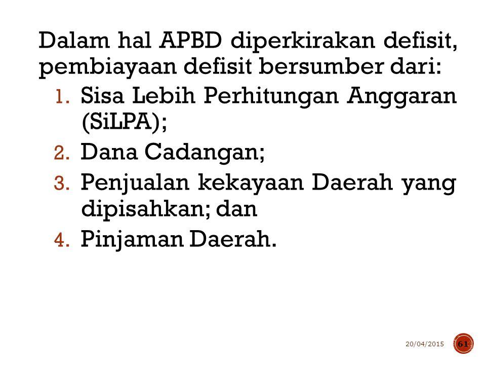 Dalam hal APBD diperkirakan defisit, pembiayaan defisit bersumber dari: 1. Sisa Lebih Perhitungan Anggaran (SiLPA); 2. Dana Cadangan; 3. Penjualan kek