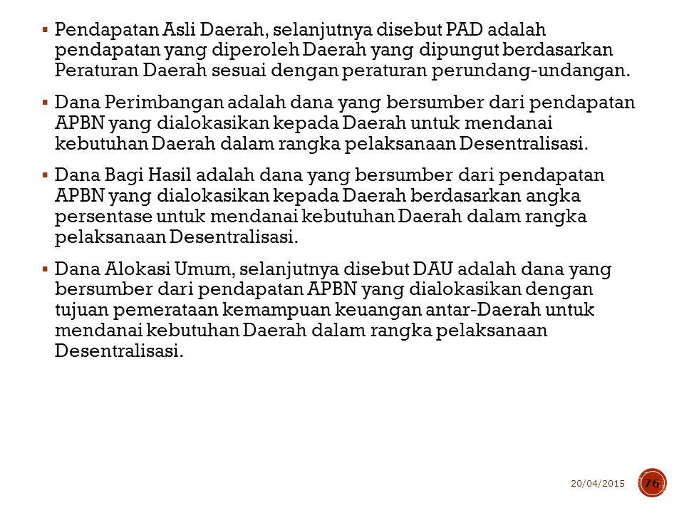  Pendapatan Asli Daerah, selanjutnya disebut PAD adalah pendapatan yang diperoleh Daerah yang dipungut berdasarkan Peraturan Daerah sesuai dengan per