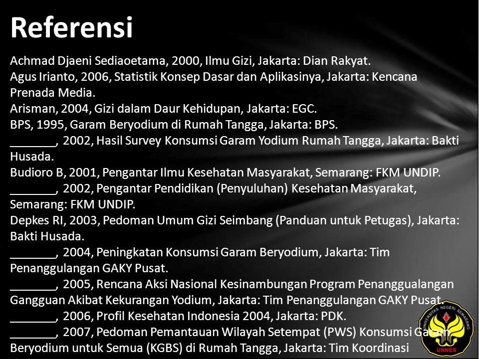 Referensi Achmad Djaeni Sediaoetama, 2000, Ilmu Gizi, Jakarta: Dian Rakyat.