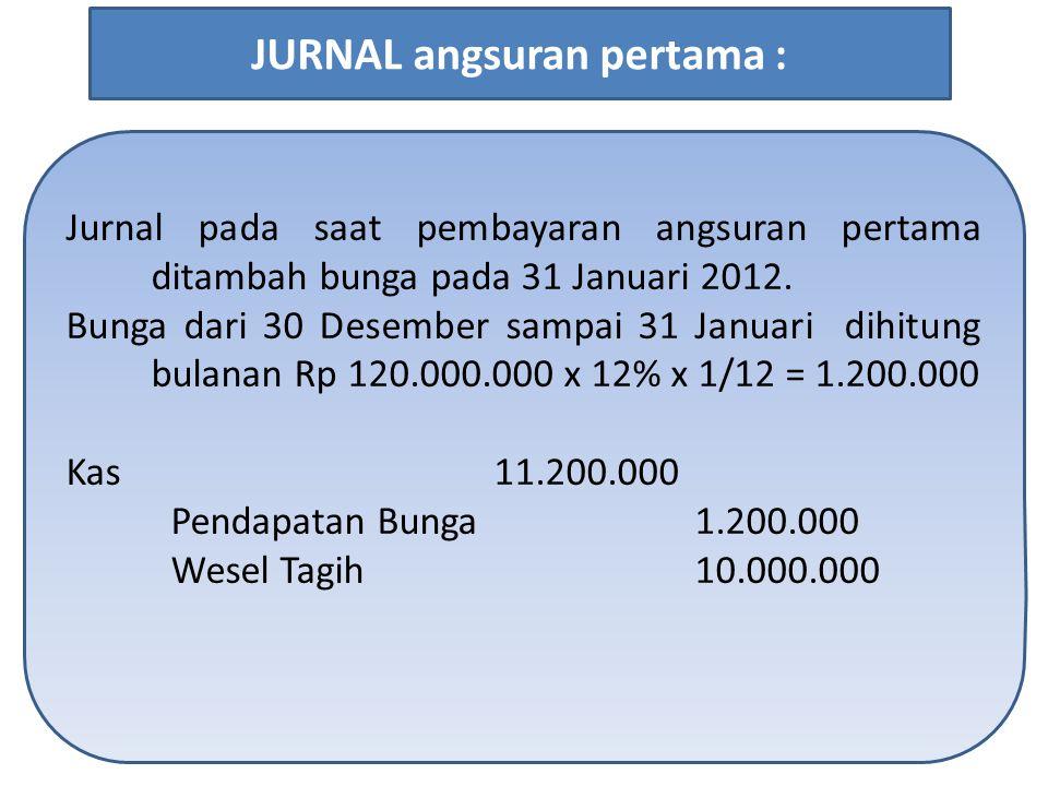 Jurnal pada saat pembayaran angsuran pertama ditambah bunga pada 31 Januari 2012. Bunga dari 30 Desember sampai 31 Januari dihitung bulanan Rp 120.000