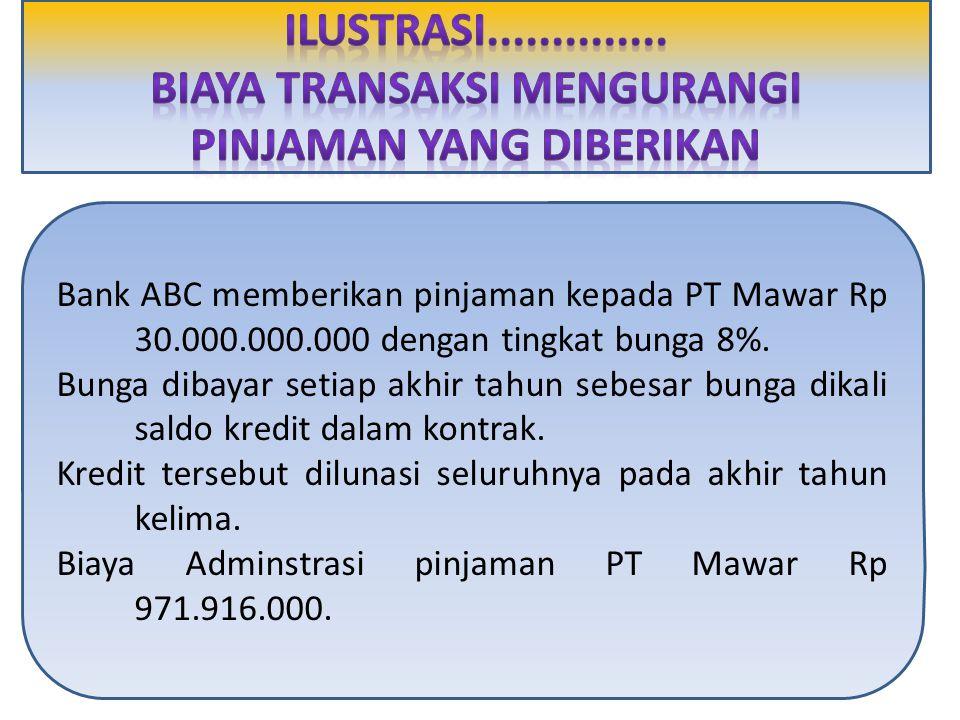 Bank ABC memberikan pinjaman kepada PT Mawar Rp 30.000.000.000 dengan tingkat bunga 8%. Bunga dibayar setiap akhir tahun sebesar bunga dikali saldo kr