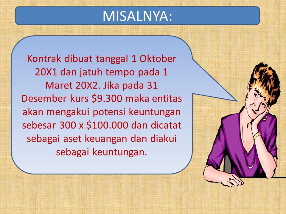 Kontrak dibuat tanggal 1 Oktober 20X1 dan jatuh tempo pada 1 Maret 20X2. Jika pada 31 Desember kurs $9.300 maka entitas akan mengakui potensi keuntung