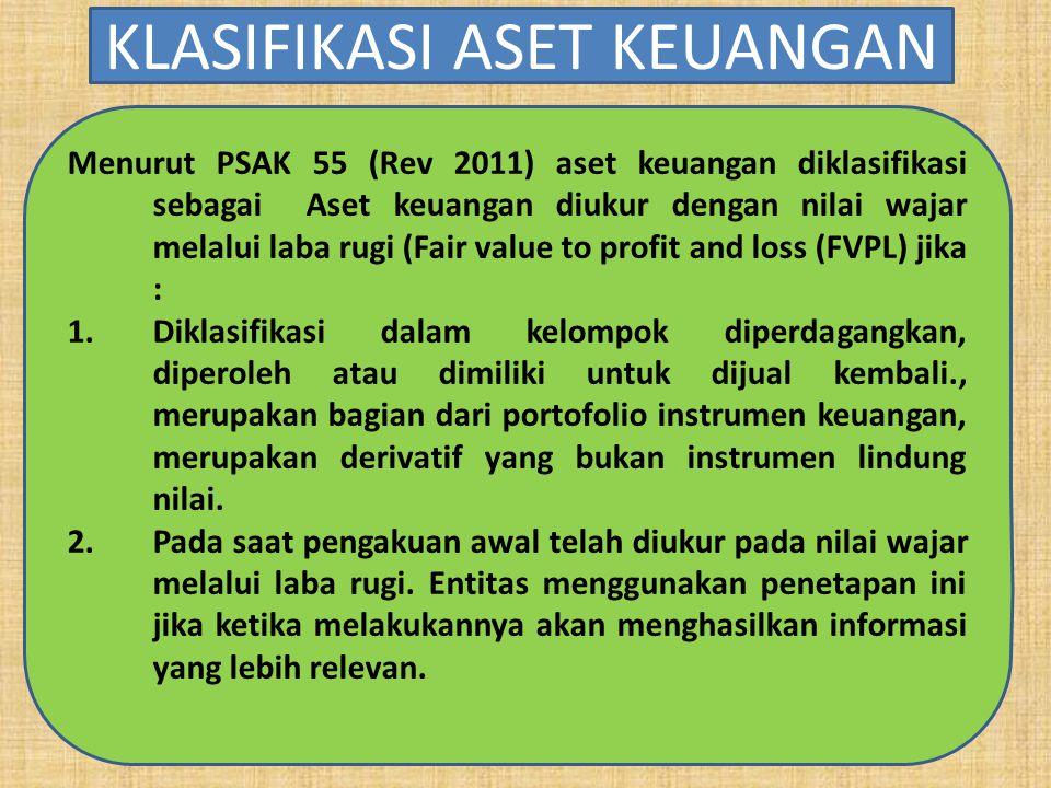 Menurut PSAK 55 (Rev 2011) aset keuangan diklasifikasi sebagai Aset keuangan diukur dengan nilai wajar melalui laba rugi (Fair value to profit and los