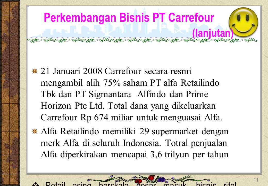 Perkembangan Bisnis PT Carrefour  Carrefour membuka gerai pertama di Cempaka Putih, Jakarta Pusat. Pada saat yang sama peretail lain asal Perancis me