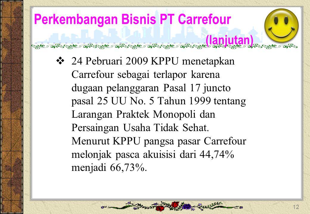 Perkembangan Bisnis PT Carrefour (lanjutan) 21 Januari 2008 Carrefour secara resmi mengambil alih 75% saham PT alfa Retailindo Tbk dan PT Sigmantara A