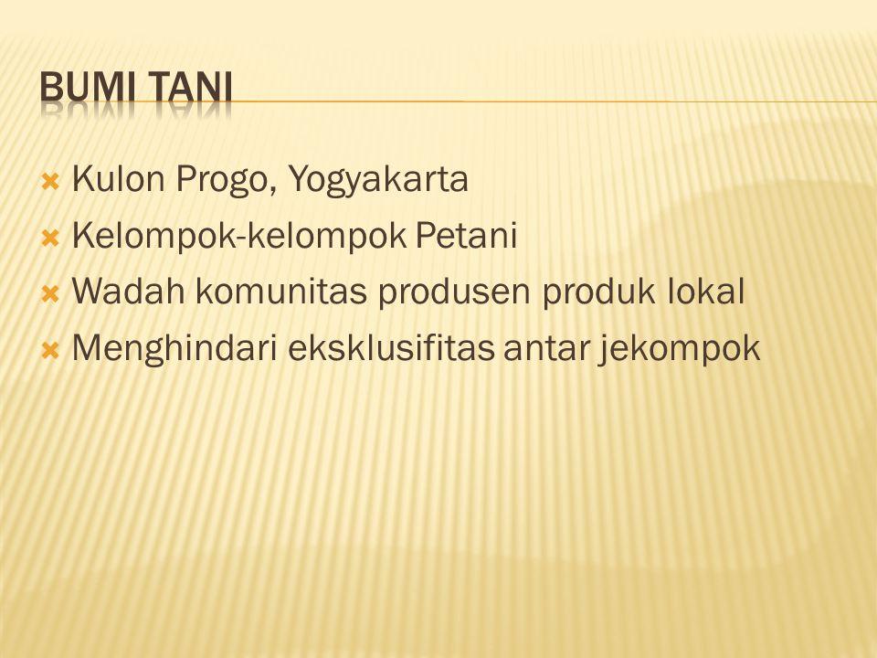  Kulon Progo, Yogyakarta  Kelompok-kelompok Petani  Wadah komunitas produsen produk lokal  Menghindari eksklusifitas antar jekompok