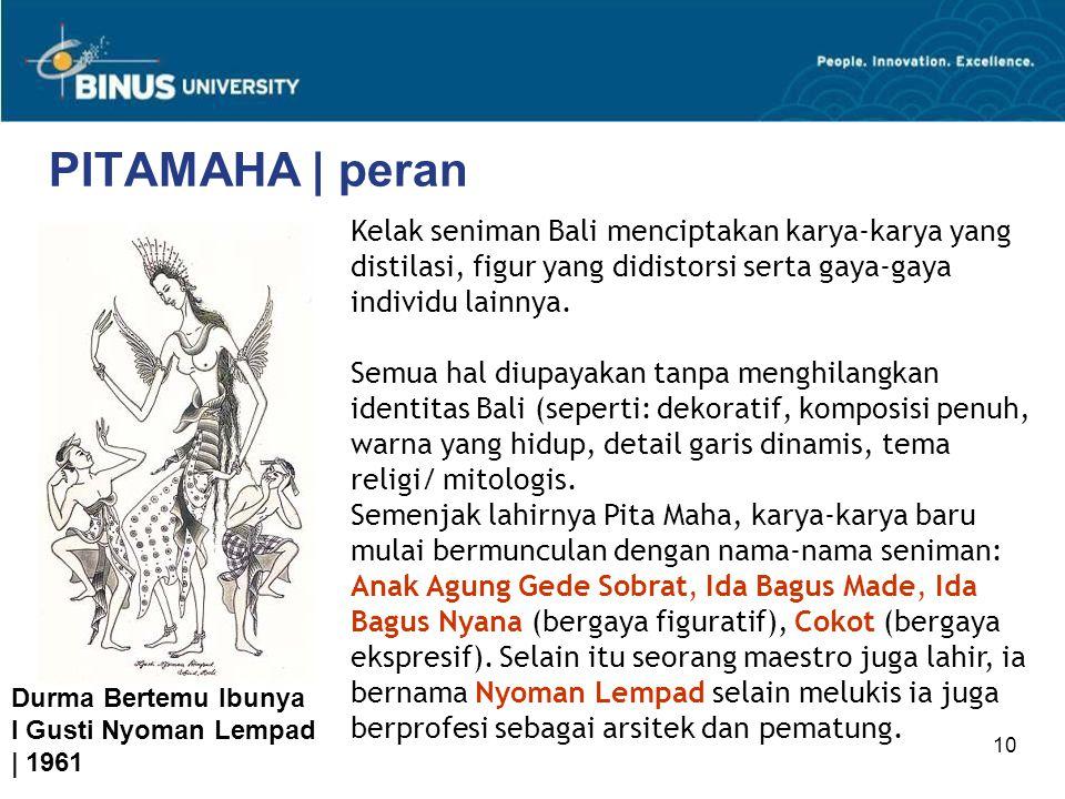 10 PITAMAHA | peran Kelak seniman Bali menciptakan karya-karya yang distilasi, figur yang didistorsi serta gaya-gaya individu lainnya. Semua hal diupa