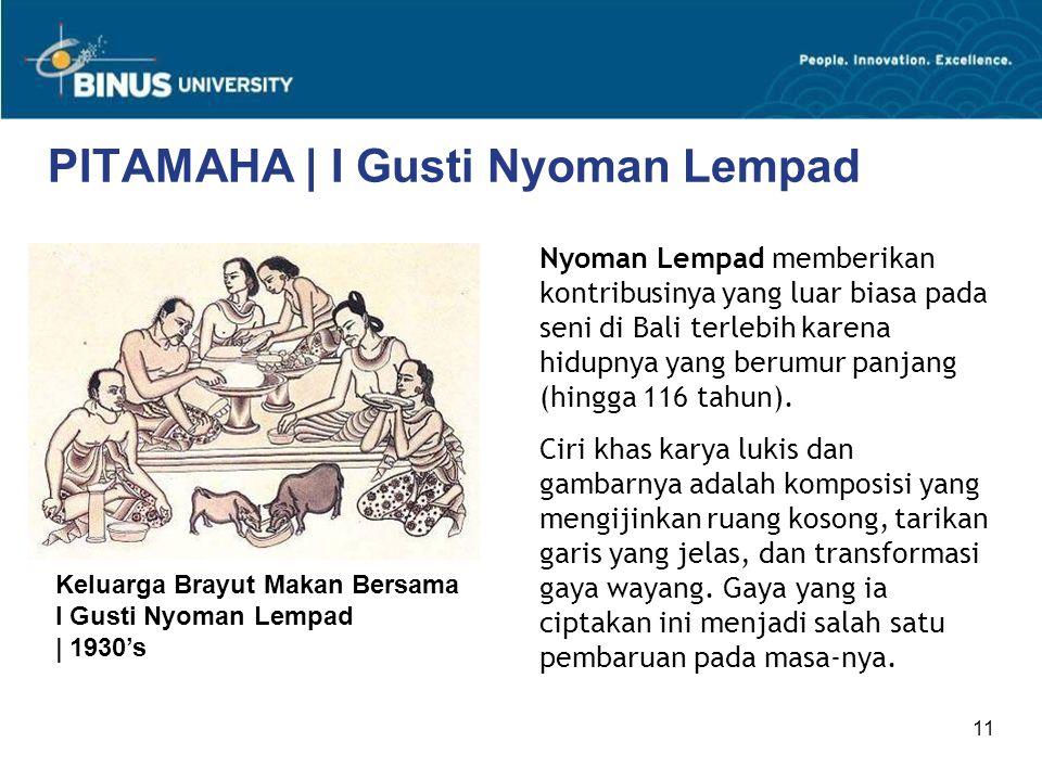 11 PITAMAHA | I Gusti Nyoman Lempad Nyoman Lempad memberikan kontribusinya yang luar biasa pada seni di Bali terlebih karena hidupnya yang berumur pan
