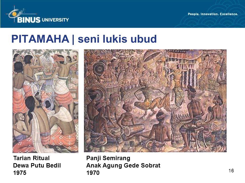 16 PITAMAHA | seni lukis ubud Panji Semirang Anak Agung Gede Sobrat 1970 Tarian Ritual Dewa Putu Bedil 1975