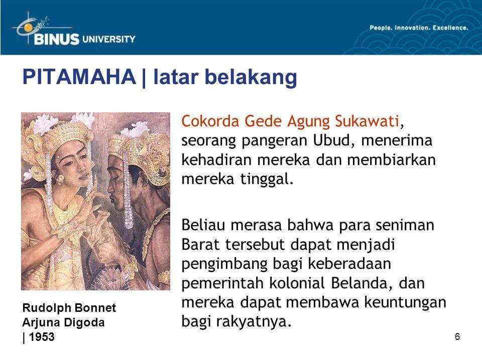 6 PITAMAHA | latar belakang Cokorda Gede Agung Sukawati, seorang pangeran Ubud, menerima kehadiran mereka dan membiarkan mereka tinggal. Beliau merasa