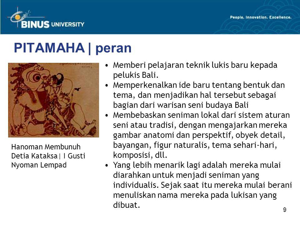 9 PITAMAHA | peran Memberi pelajaran teknik lukis baru kepada pelukis Bali. Memperkenalkan ide baru tentang bentuk dan tema, dan menjadikan hal terseb