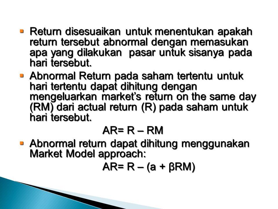  Return disesuaikan untuk menentukan apakah return tersebut abnormal dengan memasukan apa yang dilakukan pasar untuk sisanya pada hari tersebut.