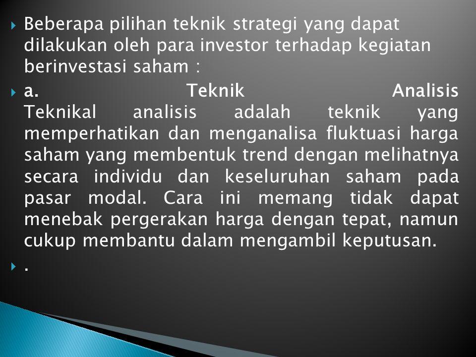  Beberapa pilihan teknik strategi yang dapat dilakukan oleh para investor terhadap kegiatan berinvestasi saham :  a.