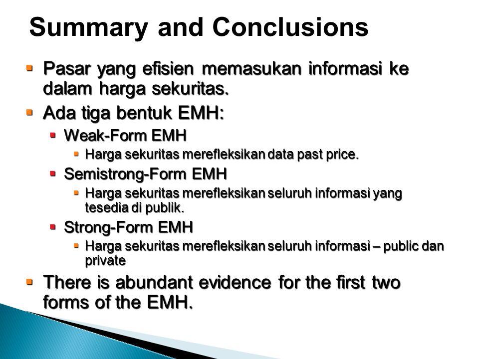 Summary and Conclusions  Pasar yang efisien memasukan informasi ke dalam harga sekuritas.