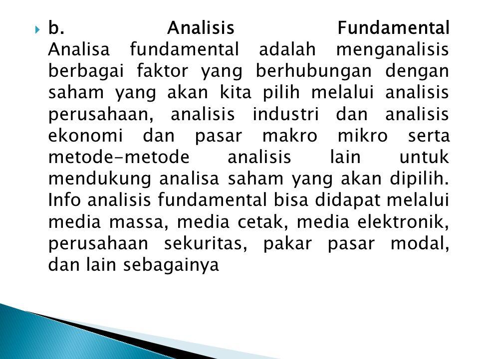 b. Analisis Fundamental Analisa fundamental adalah menganalisis berbagai faktor yang berhubungan dengan saham yang akan kita pilih melalui analisis