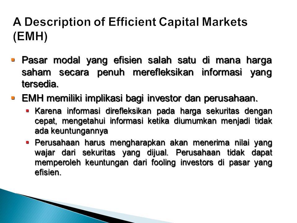  Pasar modal yang efisien salah satu di mana harga saham secara penuh merefleksikan informasi yang tersedia.