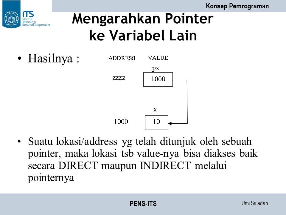 Umi Sa'adah Konsep Pemrograman PENS-ITS Mengarahkan Pointer ke Variabel Lain Hasilnya : Suatu lokasi/address yg telah ditunjuk oleh sebuah pointer, ma