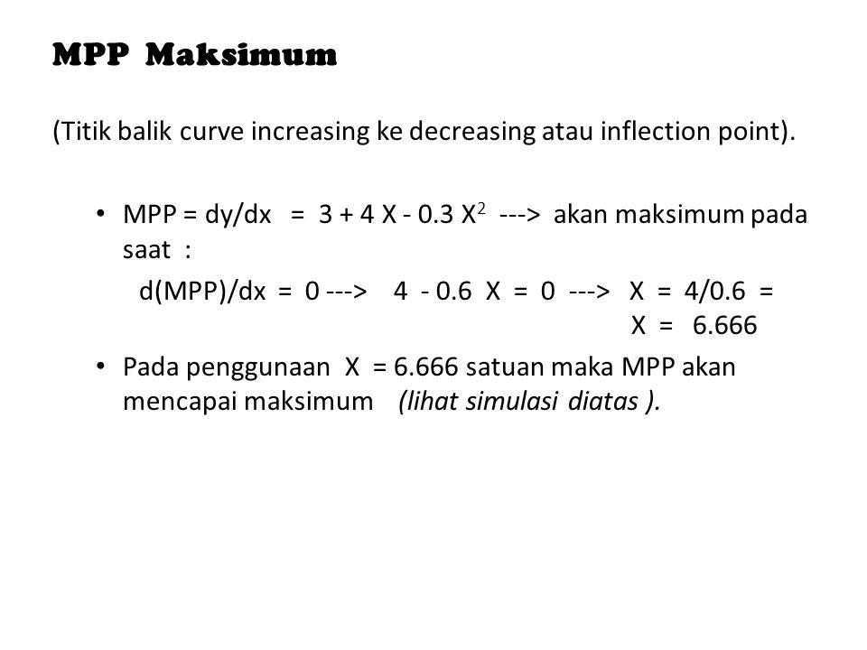 MPP Maksimum (Titik balik curve increasing ke decreasing atau inflection point). MPP = dy/dx = 3 + 4 X - 0.3 X 2 ---> akan maksimum pada saat : d(MPP)