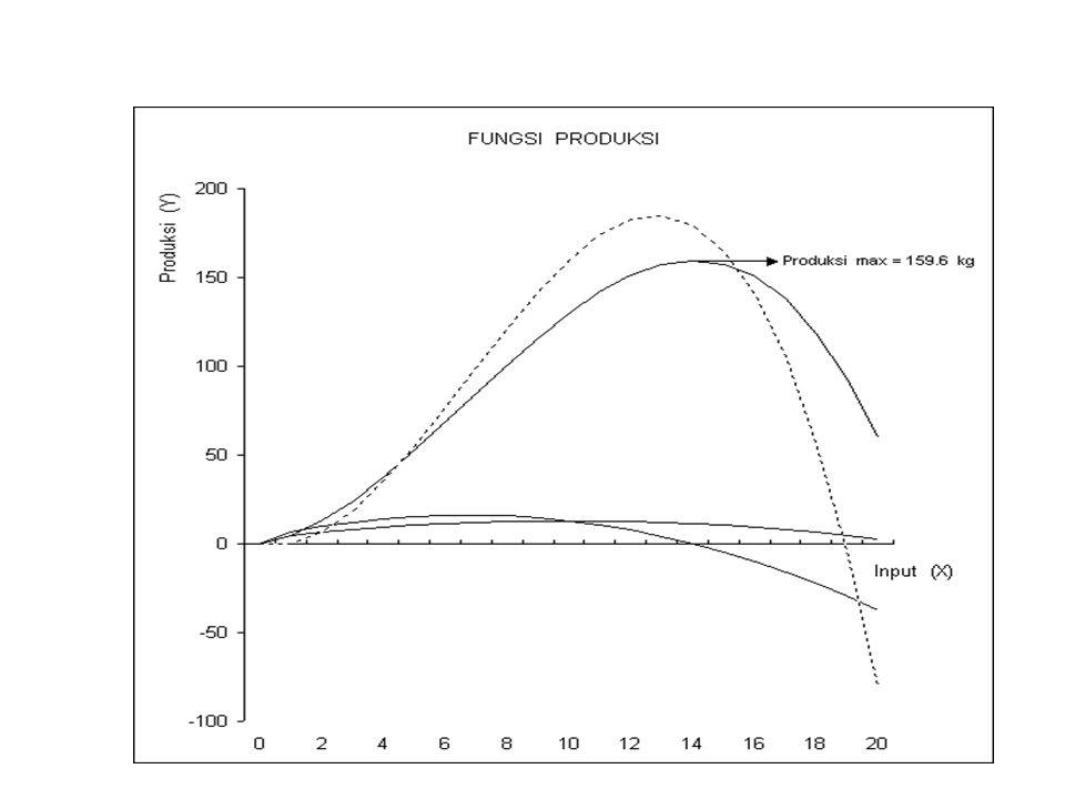 Efisiensi ekonomis tertinggi/ mencapai maksimum pada saat keuntungan (selisih antara penerimaan dengan biaya) paling besar.