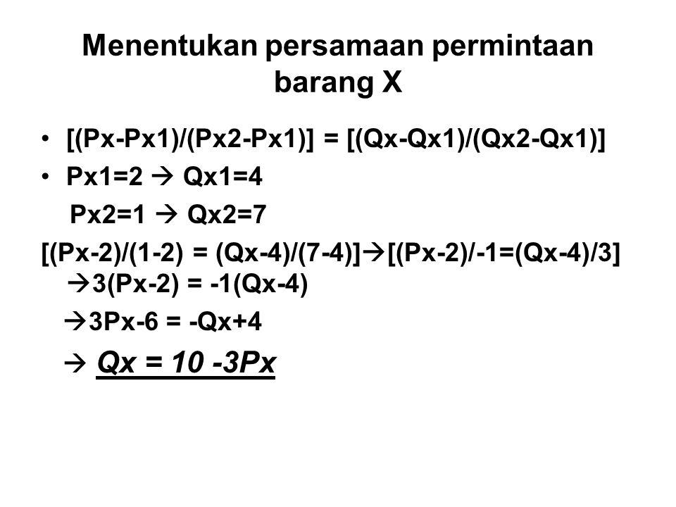 Menentukan persamaan permintaan barang X [(Px-Px1)/(Px2-Px1)] = [(Qx-Qx1)/(Qx2-Qx1)] Px1=2  Qx1=4 Px2=1  Qx2=7 [(Px-2)/(1-2) = (Qx-4)/(7-4)]  [(Px-