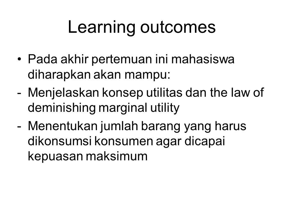 Learning outcomes Pada akhir pertemuan ini mahasiswa diharapkan akan mampu: -Menjelaskan konsep utilitas dan the law of deminishing marginal utility -