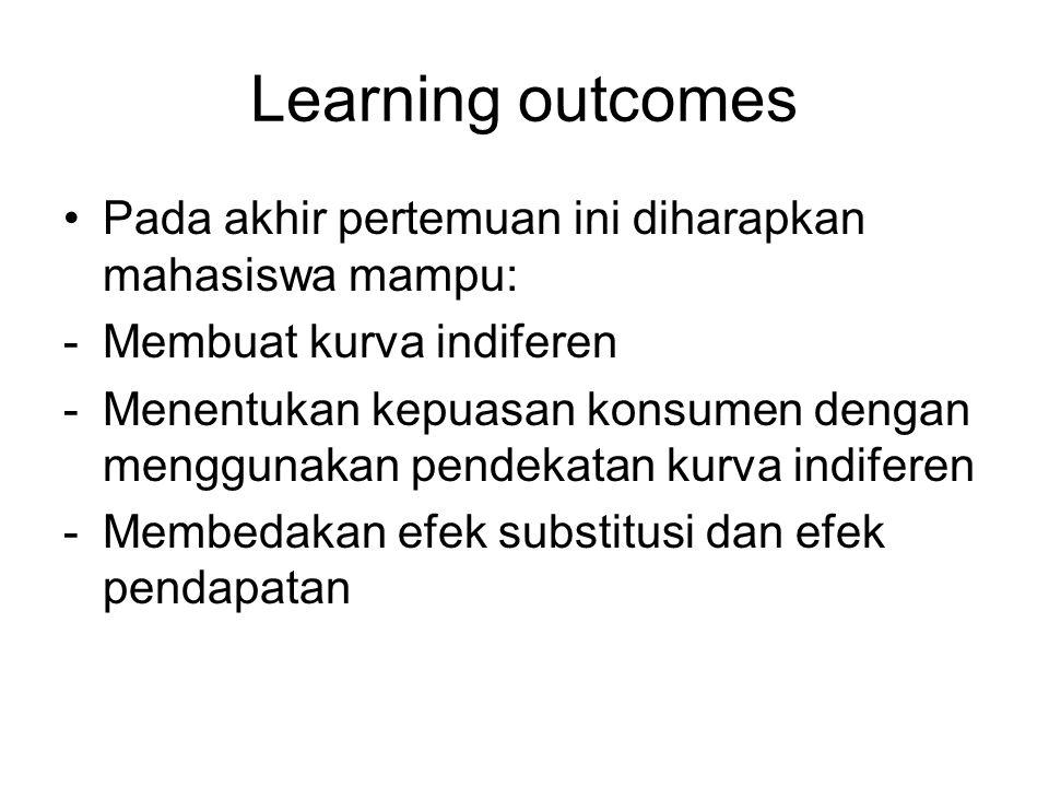 Learning outcomes Pada akhir pertemuan ini diharapkan mahasiswa mampu: -Membuat kurva indiferen -Menentukan kepuasan konsumen dengan menggunakan pende