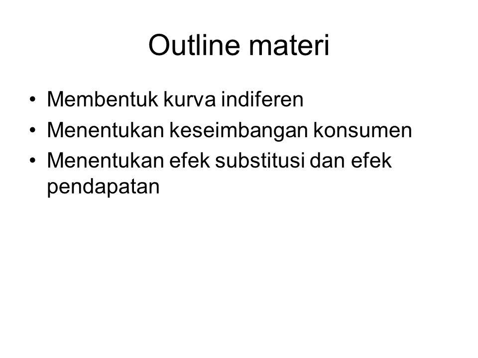 Outline materi Membentuk kurva indiferen Menentukan keseimbangan konsumen Menentukan efek substitusi dan efek pendapatan