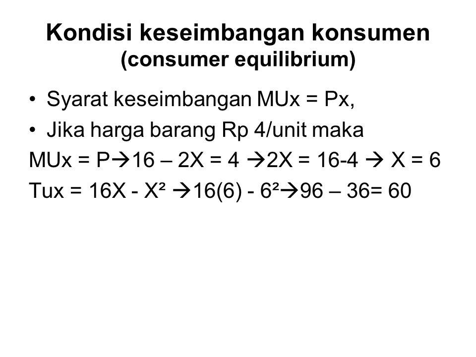 Kondisi keseimbangan konsumen (consumer equilibrium) Syarat keseimbangan MUx = Px, Jika harga barang Rp 4/unit maka MUx = P  16 – 2X = 4  2X = 16-4