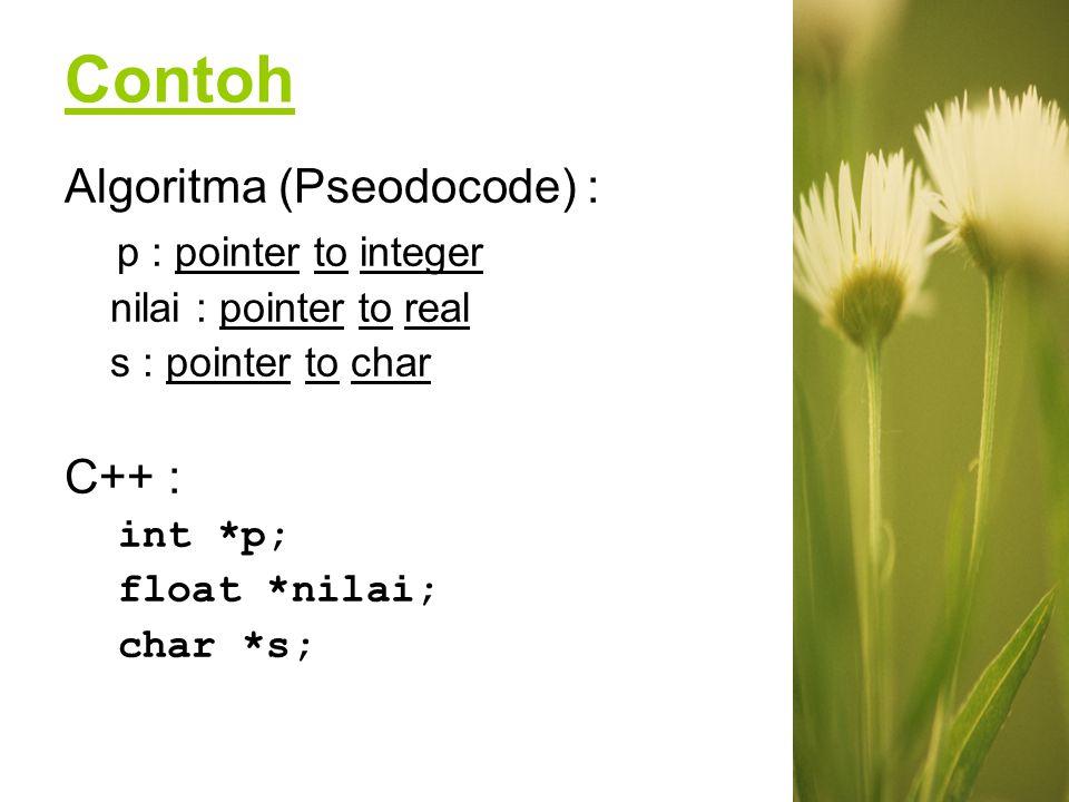 wilis k - IFUPN V Yk #include main() { int x,y; //x dan y bertipe int int *px; //deklarasi px, pointer yang menunjuk obyek //bertipe int x=87; px=&x; //px berisi alamat dari x y =*px; //y berisi nilai yang ditunjuk px cout<< alamat x= <<&x<<endl; cout<< nilai x= <<x<<endl; cout<< alamat yang ditunjuk oleh px= <<px<<endl; cout<< nilai yang ditunjuk oleh px= <<*px<<endl; cout<< alamat y= <<&y<<endl; cout<< nilai y= <<y; } //contoh program Pointer3.cpp Output : a b c Algoritma dan Pemrograman II
