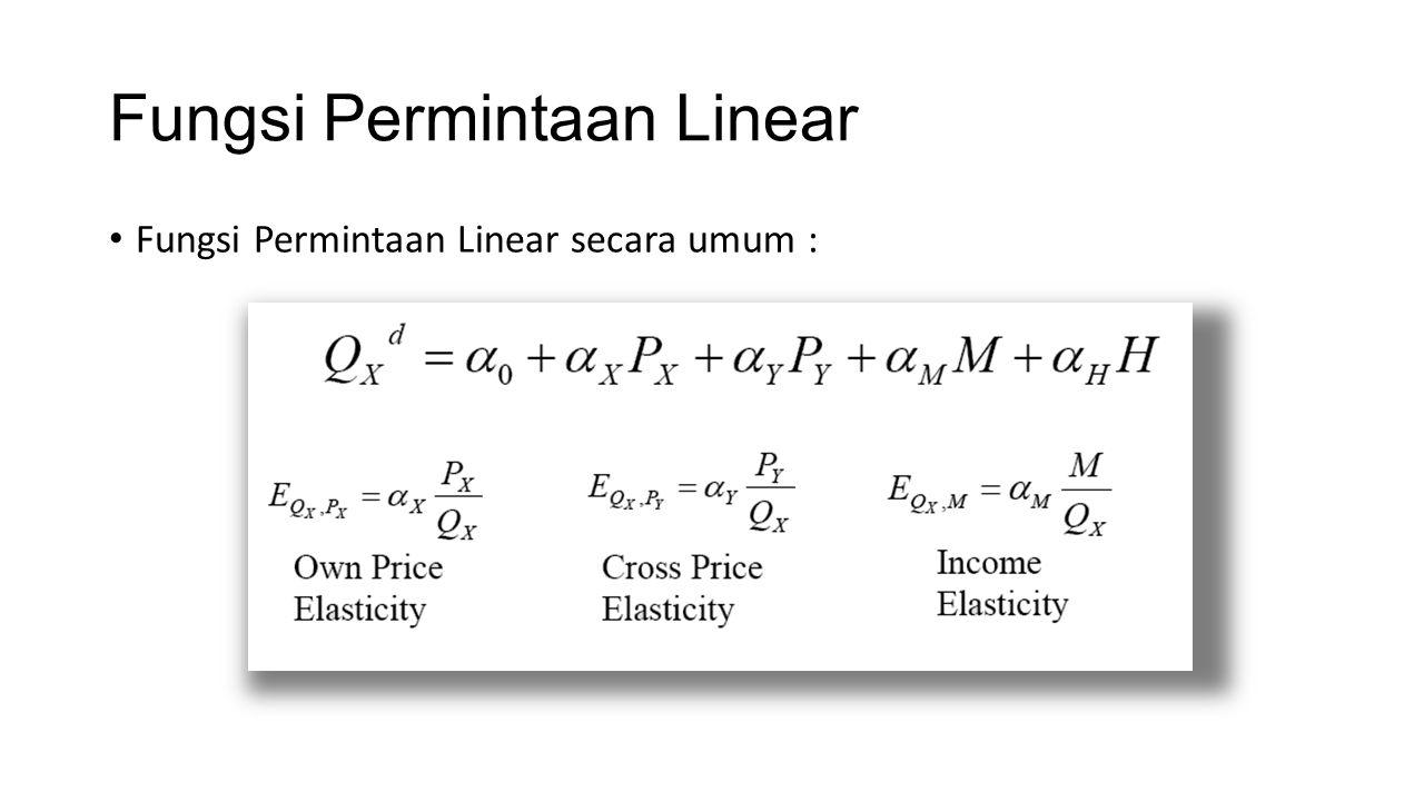Fungsi Permintaan Linear Fungsi Permintaan Linear secara umum :