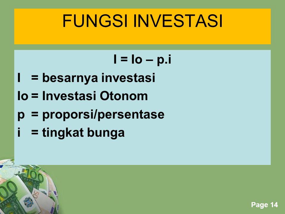 Powerpoint Templates Page 14 FUNGSI INVESTASI I = Io – p.i I= besarnya investasi Io= Investasi Otonom p = proporsi/persentase i = tingkat bunga