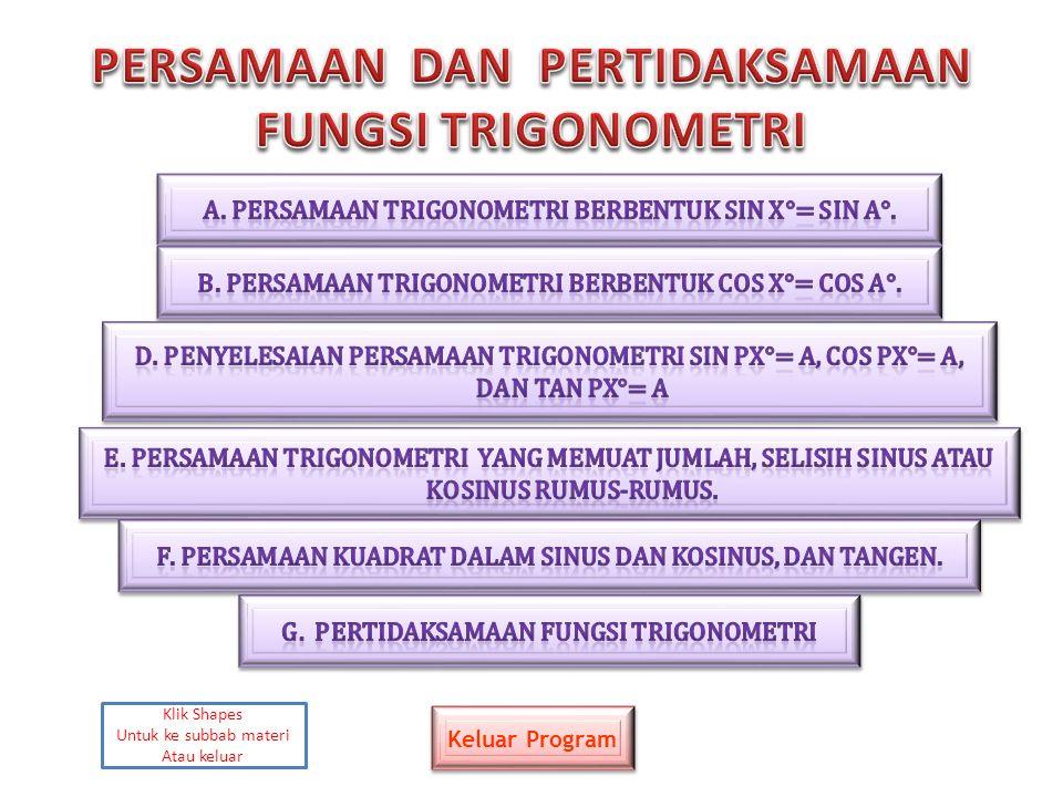 Persamaan trigonometri adalah persamaan yang memuat perbandingan trigonometri Suatu sudut dalam derajat atau radian.