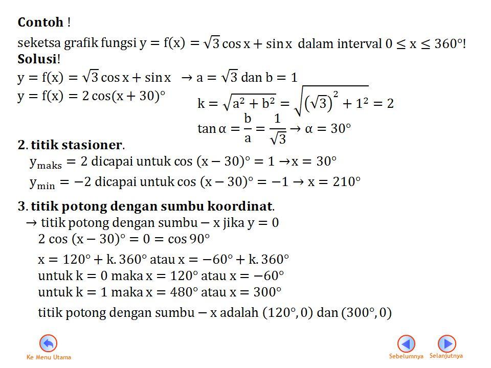 0 30° 120° 210° 300° 360° 1 2 -2 1 Catatan : dalam menggambar grafik fungsi trigonometri dapat juga menggunakan cara Tabel dan Tranlasi grafik fungsi.
