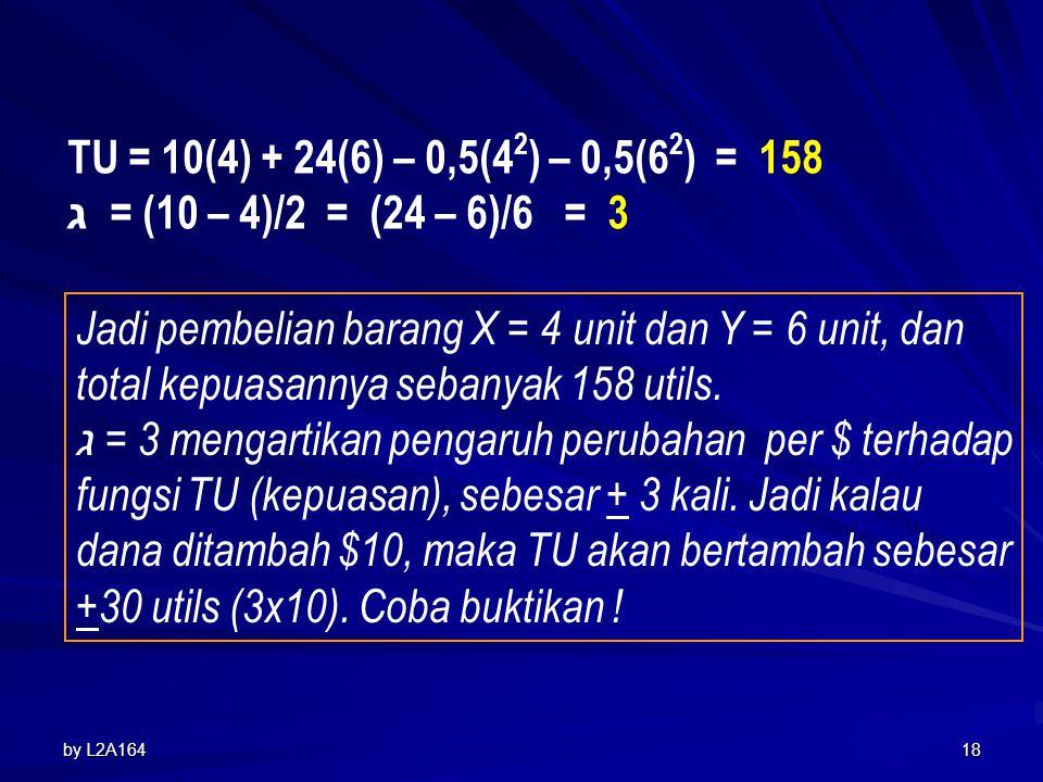 by L2A16417 Penyelesaian : Maksimumkan : TU = 10X + 24 Y – 0,5X 2 – 0,5Y 2 Kendala : 44 = 2X + 6Y 44 = 2X + 6Y 44 = 2X + 6(3X - 6) 44 = 20X – 36 X = 4 Y = 3(4) – 6 = 6