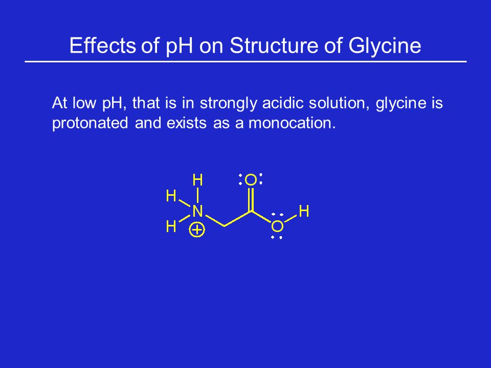 Effects of pH on Structure of Glycine At low pH, that is in strongly acidic solution, glycine is protonated and exists as a monocation.